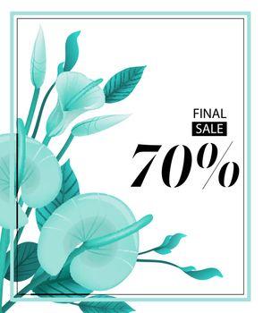 Final sale seventy percent coupon design with mint calla