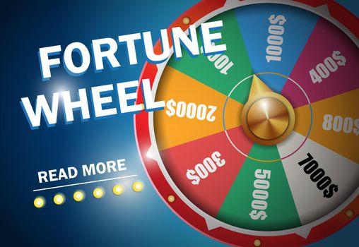 Fortune wheel inscription on blue background
