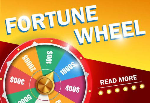 Fortune wheel read more lettering on red and yellow background