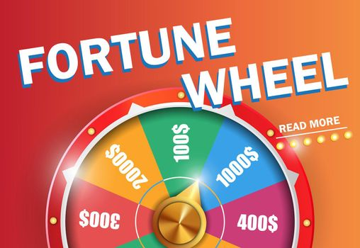Fortune wheel read more inscription on orange background