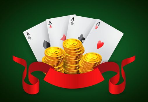 Four aces, golden coins stacks and red ribbon