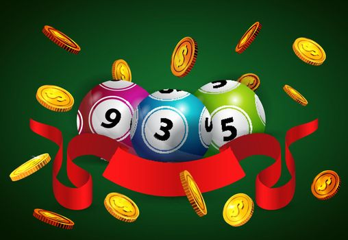 Lottery balls, flying golden coins and red ribbon