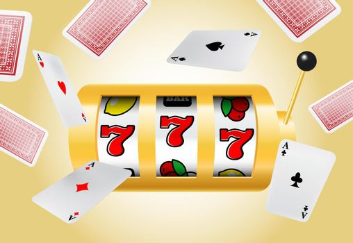 Lucky seven slot machine and flying aces on yellow background
