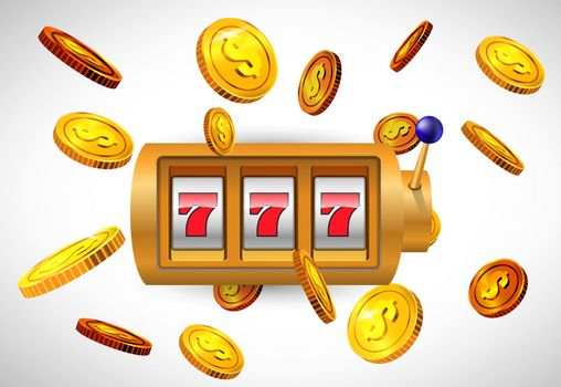 Lucky seven slot machine and flying golden coins