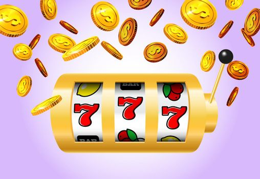 Lucky seven slot machine and golden coins on purple background