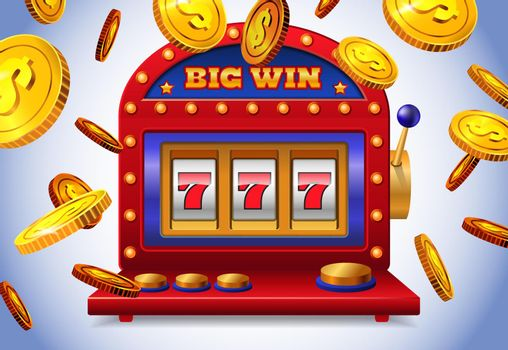 Lucky seven slot machine with big win lettering