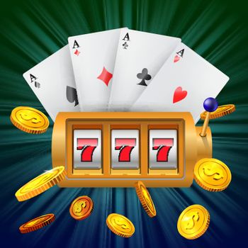 Lucky seven slot machine, four aces and flying golden coins