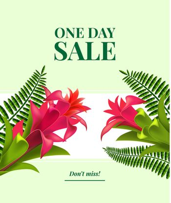 One day sale, do not miss leaflet design with red flowers