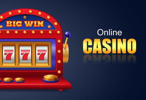 Online casino and big win lettering, lucky seven slot machine