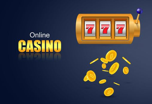 Online casino lettering, slot machine and flying golden coins