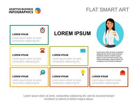 Presentation slide with company information blocks