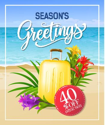 Seasons greetings lettering with sea beach and suitcase
