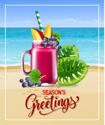 Seasons greetings lettering with sea beach cocktail and leaves