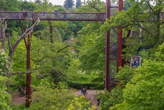 Treetop Walkway gives visitors to walk through 200 metres of forest canopy at Kew Gardens (Royal Botanic Gardens) a birds eye view of the gardens, 18 metres high among the trees.