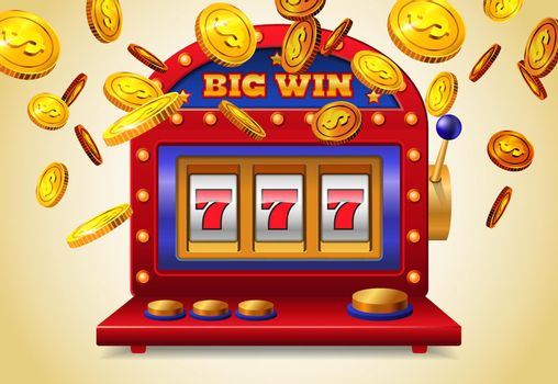 Slot machine with big win lettering and flying golden coins