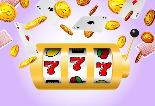 Slot machine, flying golden coins and aces on purple background