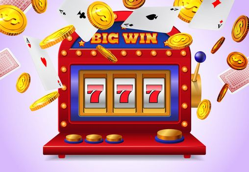 Slot machine with big win lettering, flying playing cards