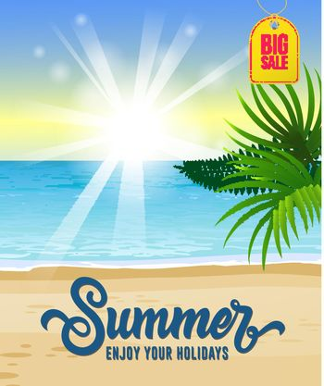 Summer, enjoy your holidays, big sale seasonal poster design