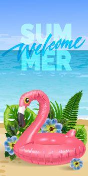 Welcome summer, seasonal vertical banner