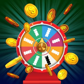 Wheel of fortune with flying golden coins