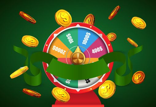 Wheel of fortune, flying golden coins and green ribbon