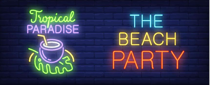 Beach party neon style banner on brick background