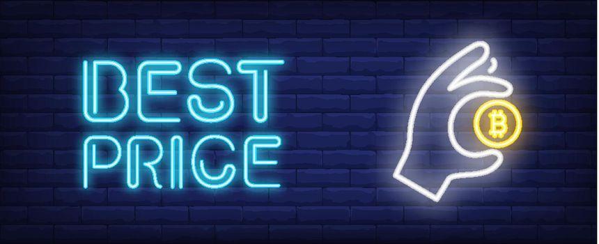 Best price vector illustration in neon style