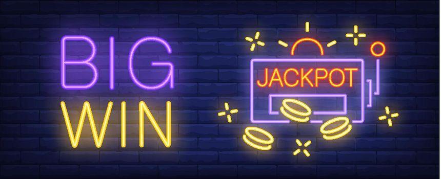Big win neon sign