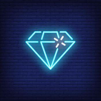 Blue neon diamond bright sign element
