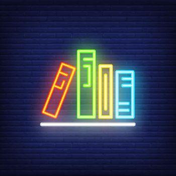 Books on shelf neon sign