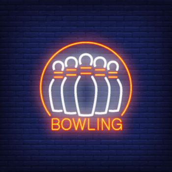 Bowling neon sign with skittles and round frame