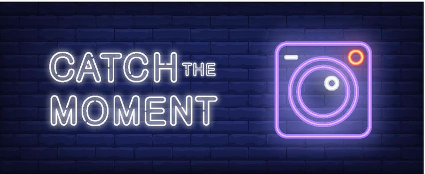 Catch the moment vector illustration in neon style