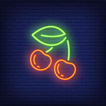 Cherry neon sign design element