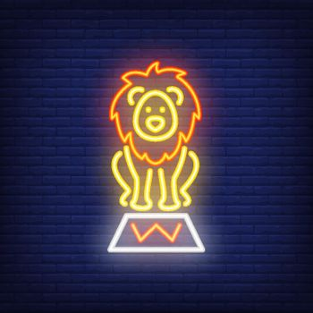 Circus lion neon icon