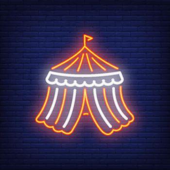 Circus tent neon icon