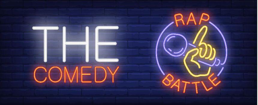 Comedy rap battle neon sign