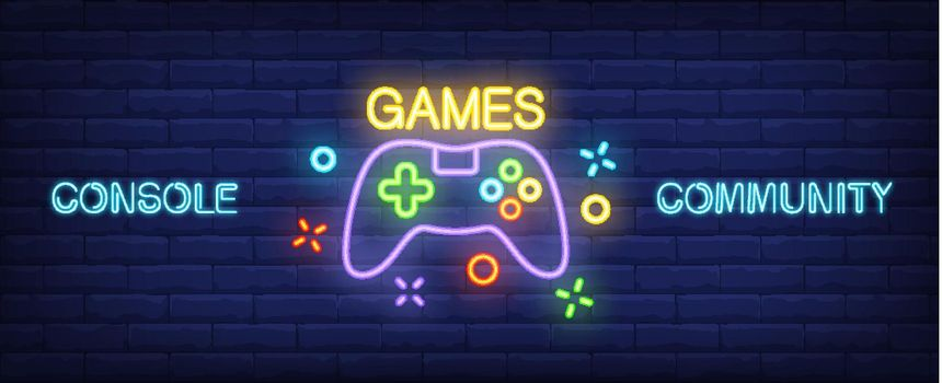 Console Community neon style banner. Gamepad on brick background