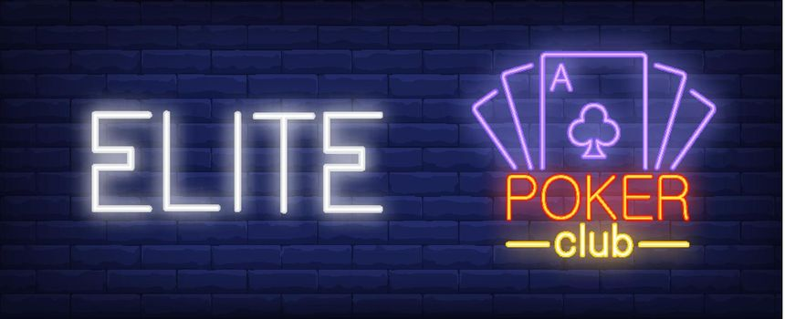 Elite poker club vector illustration