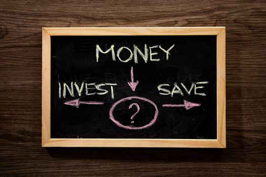 Money, invest and save diagram on blackboard