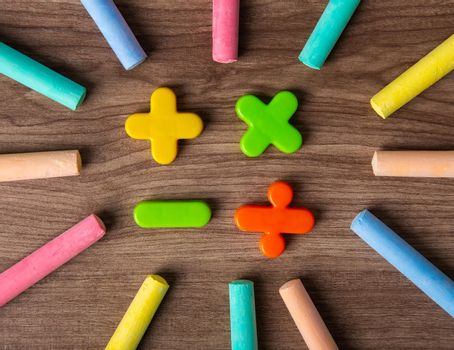 Mathematical math symbols with color chalks.