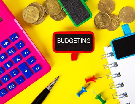 Top view of tag with BUDGETING word.