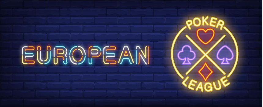 European poker league vector illustration in neon style