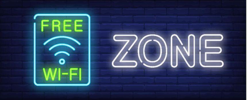 Free wi-fi zone neon sign