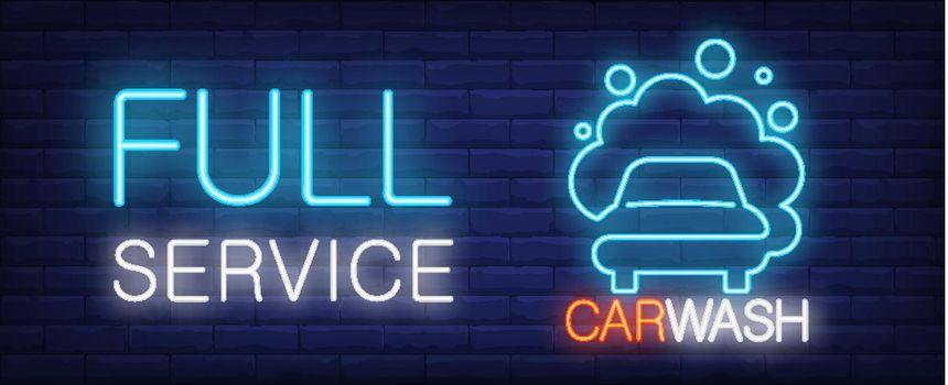 Full service car wash neon sign