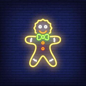 Gingerbread man neon cartoon character
