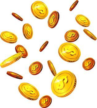 Falling dollar coins