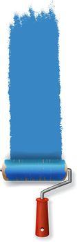 Paint roller leaving stroke of blue paint