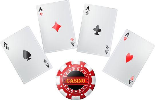 Poker cards in casino