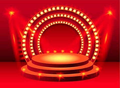 Round red stage podium with lighting