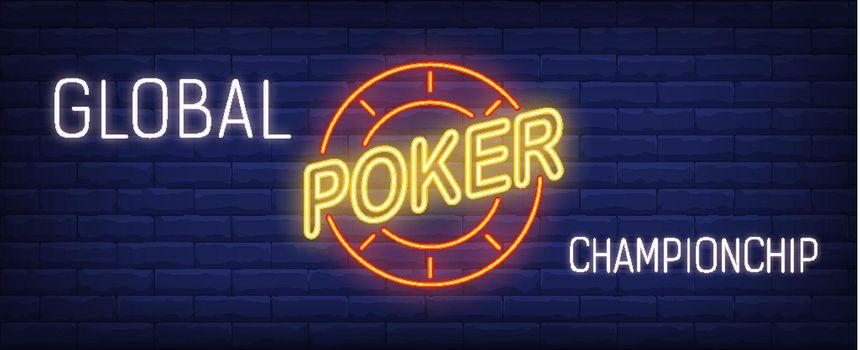Global poker championship vector illustration in neon style